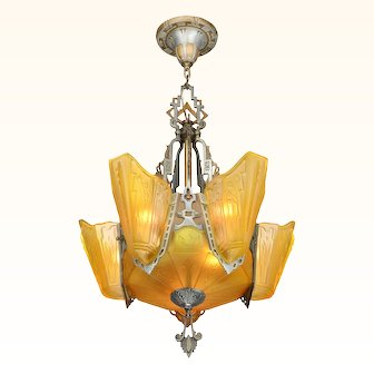 Art Deco Long 6 Shade Chandelier by Markel....The 9500-A Line ANT-1047