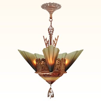 Solid Bronze Art Deco Slip Shade Chandelier by Mid West Mnf ANT-1048