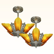 Matched PAIR of Moe Bridges Art Deco 5 Shade Chandeliers ANT-1055