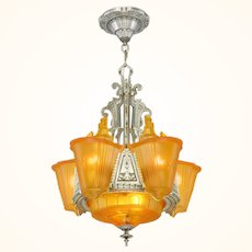 """Art Deco """"top-of-the-line"""" 6 """"unusual"""" Shade Chandelier ANT-1061"""