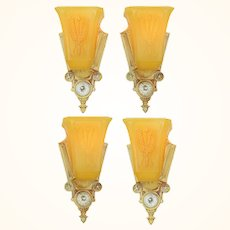 Pair of Interesting Art Deco Slip-Shade Sconces by Markel ANT-1064