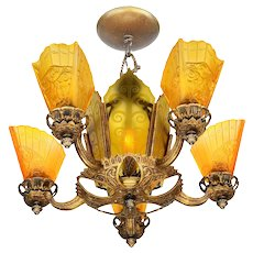 Art Deco Slip Shade Chandelier with Amber Etched Glass Center Panels ANT-1069