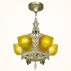 """Very """"different"""" and """"rare"""" Five light Art Deco Slip Shade Chandelier ANT-1073"""