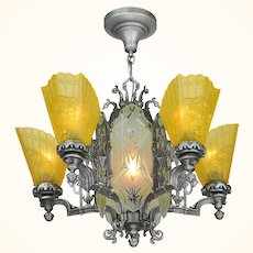 Art Deco Slip Shade Chandelier with Cut Glass Center Panels ANT-1078