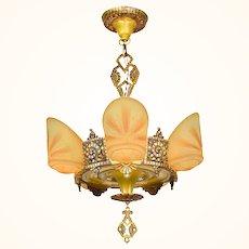 Antique Beardslee (Williamson) 5 Light Art Deco Slip Shade Chandelier ANT-1084