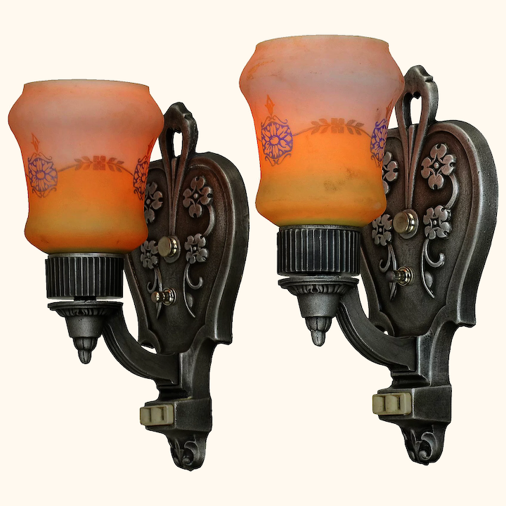 Lovely Pair Of Circa 1920 Wall Sconces