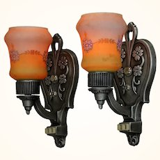 Lovely Pair of Circa 1920 Wall Sconces. Original Antique Backplates with Original Antique Shades ANT-1085