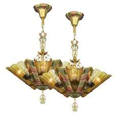 Antique Art Deco Slip Shade Fenwick Chandelier c 1933. (a pair-sold each) ANT-1087