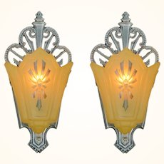 Pair of Pewter Finished Art Deco Slip Shade Wall Sconces ANT-1092