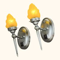 "Pair of Pewter Finished ""torch"" Sconces ANT-1095"