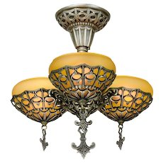 Art Deco 3 Shade Chandelier by Gill Glass & Fixture Co. ANT-1097