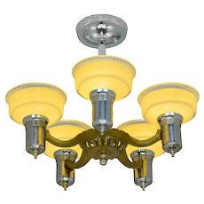 Antique Art Deco 5 Light Chandelier with Original Shades ANT-1099