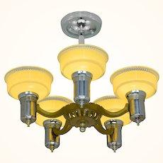 Antique Art Deco 5 Light Chandelier with Original Shades ANT-1099