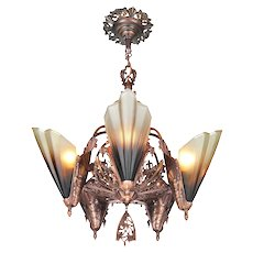 Solid Bronze Art Deco Slip Shade Chandelier by Mid West Mnf ANT-1105