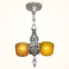 Antique Art Deco Slip Shade Light Lincoln Triangle Pendant ANT-1106
