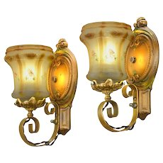 "Lovely Pair of 1910-20  Edwardian ""Original' Old Gold Finish Polychrome Wall Sconces ANT-1108"