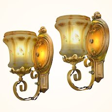 """Lovely Pair of 1910-20  Edwardian """"Original' Old Gold Finish Polychrome Wall Sconces ANT-1108"""