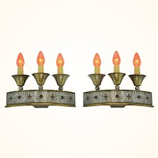 Antique Pair of Great 3 Candle Art/Crafts or Gothic Wall Sconce Lights Circa 1920-30 ANT-1109