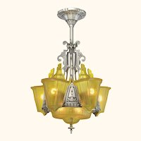 "Art Deco ""top-of-the-line"" 6 ""unusual"" Shade Chandelier ANT-1110"