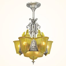 """Art Deco """"top-of-the-line"""" 6 """"unusual"""" Shade Chandelier ANT-1110"""
