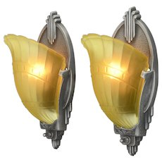 Pair of Nice Long, Shaped, Slip Shade Art Deco Sconces by Markel  ANT-1119