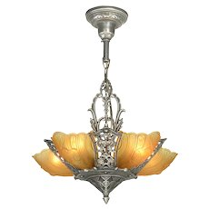 Antique Restored Art Deco Slip Shade Chandelier  ANT-1120