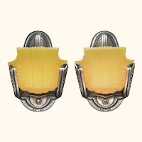 Art Deco Streamline Design Slip Shade Pair of Wall Sconces  ANT-1121
