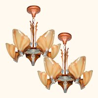 Matched Pair (Nearly Perfectly) Art Deco 5 Shade Clam Shell Chandeliers by Mid-West (ANT-1129) [SOLD EACH]
