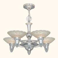 Antique Art Deco Streamline 5-Light Chandelier (ANT-1136)