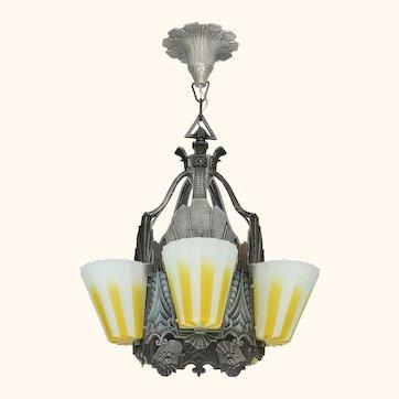 Fabulous Williamson Slip Shade Art Deco Five Slip Shade Chandelier (ANT-1138)
