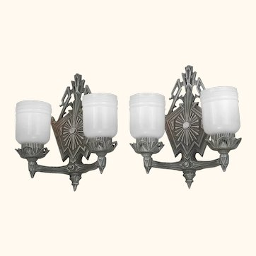 Striking Pair of Double-Armed Art Deco Wall Sconces...Circa 1920 (ANT-1146)