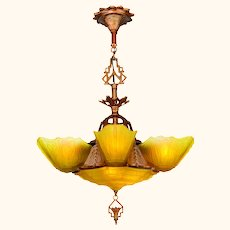 Art Deco 6 Shade Chandelier by Markel....Series 8800 (ANT-1149)