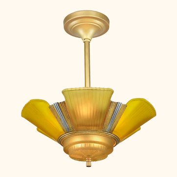 Art Deco Streamline 6-Light Chandelier by Mid-West Mnf.  (ANT-1150)