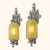 Set of TEN Matched TALL Sconces with Lovely Amber Shades (Sold Each Pair)  (ANT-1153)