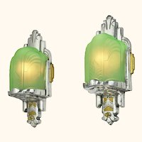 Two Pairs of Nice Slip Shade Art Deco Sconces (Sold by Each Pair) (ANT-1154)