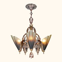 Solid Bronze Art Deco Slip Shade Chandelier by Mid West Mnf. (ANT-1160)