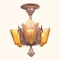Antique Restored Red-Bronzed Finished Art Deco Slip Shade Chandelier (ANT-1163)