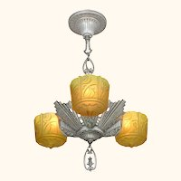 Antique Art Deco Slip Shade Chandelier Made by Lincoln (ANT-1164)
