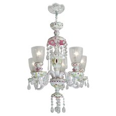 Lovely Bohemian Pink & White Art Glass Cut Chandelier Circa 1920-30 (ANT-428)