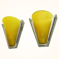 Art Deco Nickel Plated French Wall Lights with Slip Shades Circa 1935 (ANT-511)