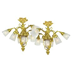 Neo Rococo French Chandeliers Pair of 6 Arm Ceiling Lights Fixtures (ANT-614)