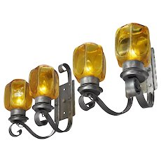 Rustic Wall Sconces Pair of Steel Iron Lights 2 Double Arm Fixtures (ANT-679)