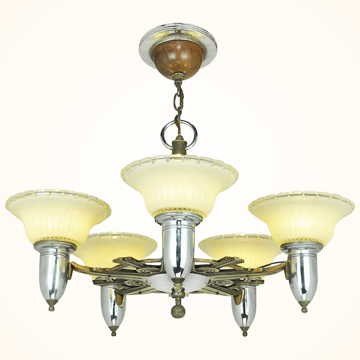 Art Deco Streamline Style Chandelier Vintage 5 Light Ceiling Fixture Ant 698