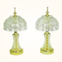 Matching Pair of Vintage Table Lamps Cut Crystal Small Elegant Accent (ANT-734)