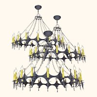 "Big 48"" Diam Iron Chandelier Gothic 18 Light Candle Ceiling Fixture (ANT-775)"