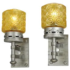 Gothic Style Lights Vintage Wall Sconces Circa 1920s Pair of Fixtures (ANT-786)