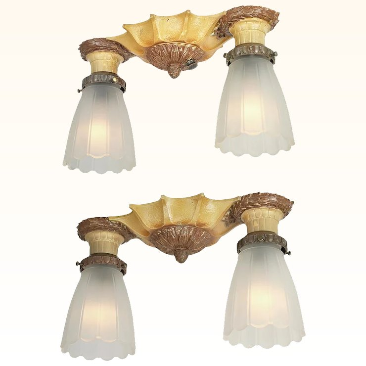 Pair Of Flush Mount Ceiling Lights Vintage 1920s Lighting Fixtures Ant 798
