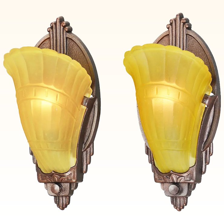 Art Deco Pair Of Vintage Wall Sconces Slip Shade 1930s Light Fixtures  (ANT 813