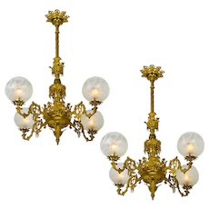 Pair of Chandeliers Victorian Neo Rococo Gasoliers 4 Arm Gas Lighting (ANT-834)