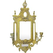 Vintage Wall Mirror Edwardian Cast Brass Bronze 2-Arm Candle Sconce (ANT-868)